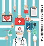 medical flat design card with...   Shutterstock . vector #664858615