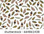 seamless pattern with feathers. ... | Shutterstock .eps vector #664861438