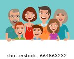 happy cheerful family  banner.... | Shutterstock .eps vector #664863232