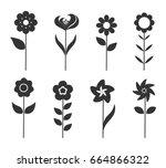 flower icons set. vector... | Shutterstock .eps vector #664866322