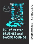 set of vector brushes and text... | Shutterstock .eps vector #664870372