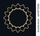 golden round ornament  frame ... | Shutterstock .eps vector #664873306