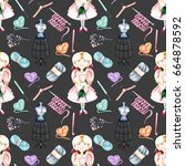seamless pattern with... | Shutterstock . vector #664878592