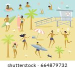 summert cartoon illustration.... | Shutterstock .eps vector #664879732