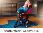 womens self defense workout... | Shutterstock . vector #664898716
