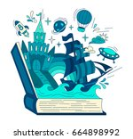 reading book  imagination... | Shutterstock .eps vector #664898992