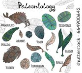 fauna of neoproterozoic and... | Shutterstock .eps vector #664900642