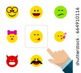 flat icon face set of laugh ... | Shutterstock .eps vector #664910116