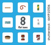 flat icon eating set of... | Shutterstock .eps vector #664910506