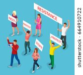 protest isometric people with... | Shutterstock .eps vector #664910722