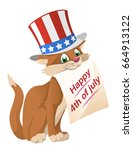 happy 4th of july. funny cat in ...   Shutterstock .eps vector #664913122