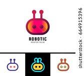 smart robot logo template. cute ... | Shutterstock .eps vector #664915396