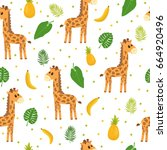 seamless pattern with cute... | Shutterstock .eps vector #664920496