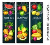 exotic fruits product banners... | Shutterstock .eps vector #664921936