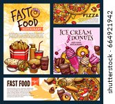 fast food restaurant posters or ... | Shutterstock .eps vector #664921942