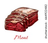 raw beef meat slice or lump... | Shutterstock .eps vector #664922482