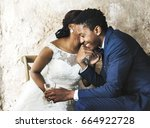 newlywed african descent couple ... | Shutterstock . vector #664922728