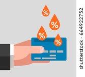 bank card in man's hand. drops...   Shutterstock .eps vector #664922752