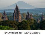 prambanan temple with mountain...   Shutterstock . vector #664928098