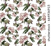 watercolor floral tile summer... | Shutterstock . vector #664936915