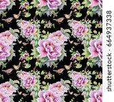 seamless pattern of purple... | Shutterstock . vector #664937338