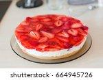 summer homemade cheesecake with ... | Shutterstock . vector #664945726