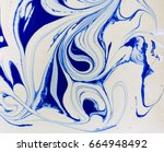 marbled blue and white abstract ... | Shutterstock . vector #664948492