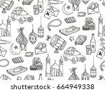 islamic doodle background ... | Shutterstock . vector #664949338