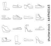shoes set icons in outline...   Shutterstock . vector #664960165