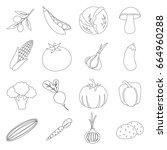 vegetables set icons in outline ... | Shutterstock . vector #664960288