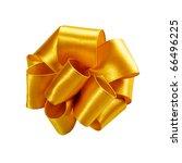 single golden ribbon gift bow... | Shutterstock . vector #66496225