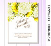 romantic invitation. wedding ... | Shutterstock .eps vector #664962256