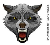 angry wolf head on a white... | Shutterstock .eps vector #664970686