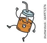 jar with juice fruit kawaii... | Shutterstock .eps vector #664971376