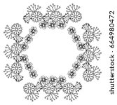 circular frame deoration floral | Shutterstock .eps vector #664980472