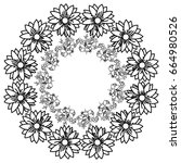 circular frame deoration floral | Shutterstock .eps vector #664980526