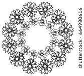circular frame deoration floral | Shutterstock .eps vector #664980616
