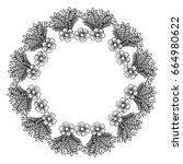 circular frame deoration floral | Shutterstock .eps vector #664980622