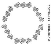 circular frame deoration floral | Shutterstock .eps vector #664981072