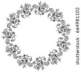 circular frame deoration floral | Shutterstock .eps vector #664981102