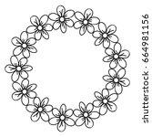 circular frame deoration floral | Shutterstock .eps vector #664981156