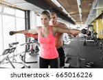 young attractive woman doing... | Shutterstock . vector #665016226