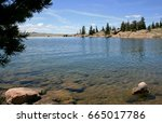 View from lake shore at Eleven Mile Reservoir in Colorado