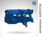 blue brush stroke and texture.... | Shutterstock .eps vector #665019736