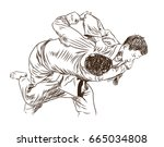 hand sketch competing judo in... | Shutterstock .eps vector #665034808