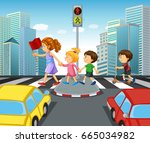 children crossing street in... | Shutterstock .eps vector #665034982