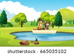 father and son fishing in the... | Shutterstock .eps vector #665035102