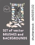 set of vector brushes and text... | Shutterstock .eps vector #665035132