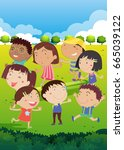 happy children playing in park... | Shutterstock .eps vector #665039122