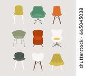 vector set of chairs | Shutterstock .eps vector #665045038